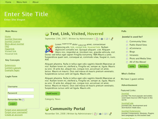 <p>For Joomla 1.6.x, Wide, Valid XHTML, Valid CSS, 3 Columns Layout, 2 Sidebars</p><p></p>