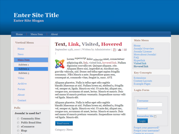 <p>For Joomla 1.6.x, Wide, Valid XHTML, Valid CSS, 3 Columns Layout, 2 Sidebars, 1 on the left and 1 on the right side.</p><p>&nbsp;</p>