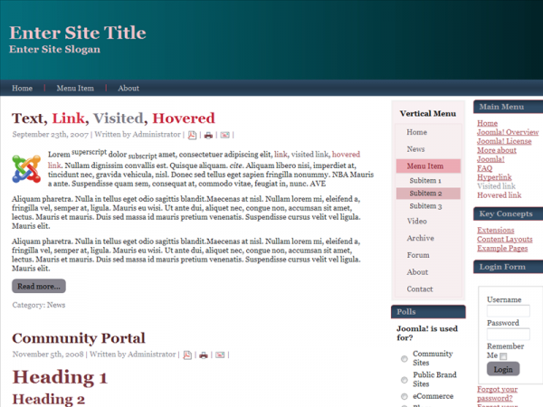 <p>For Joomla 1.6.x, Fluid, Valid XHTML, Valid CSS, 3 Columns Layout, 2 Columns on the Right side.</p><p> </p>