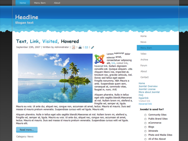 For Joomla 1.6.x, Wide, Valid XHTML, Valid CSS, 2 Columns Layout