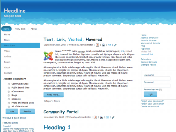 For Joomla 1.6.x, Fluid, Valid XHTML, Valid CSS, 3 Columns Layout, 1 Left and 1 Right Sidebar Columns